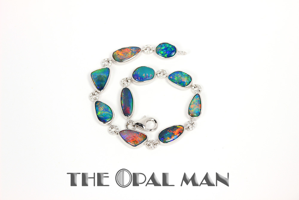 Australian Opal Doublet Bracelet In 14k White Gold Stunning Color Play