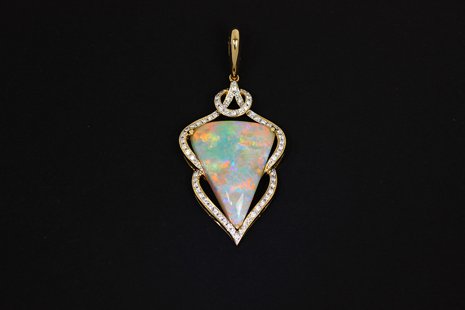 Australian opal pendant in 14k gold diamonds the opal man australian opal pendant aloadofball Image collections