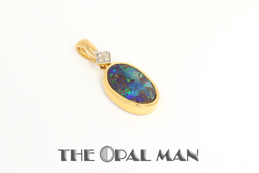Australian boulder opal pendant in 18k gold the opal man australian boulder opal pendant aloadofball Image collections