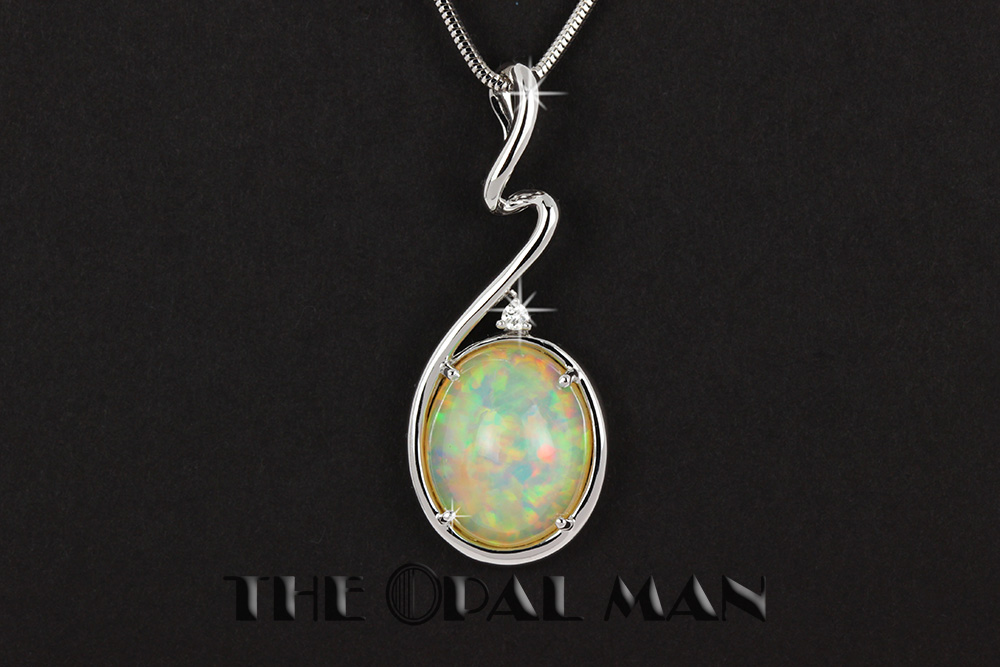 Stunning 95 carat ethiopian opal pendant in 14k white gold the stunning 95 carat ethiopian opal pendant in 14k white gold aloadofball Gallery