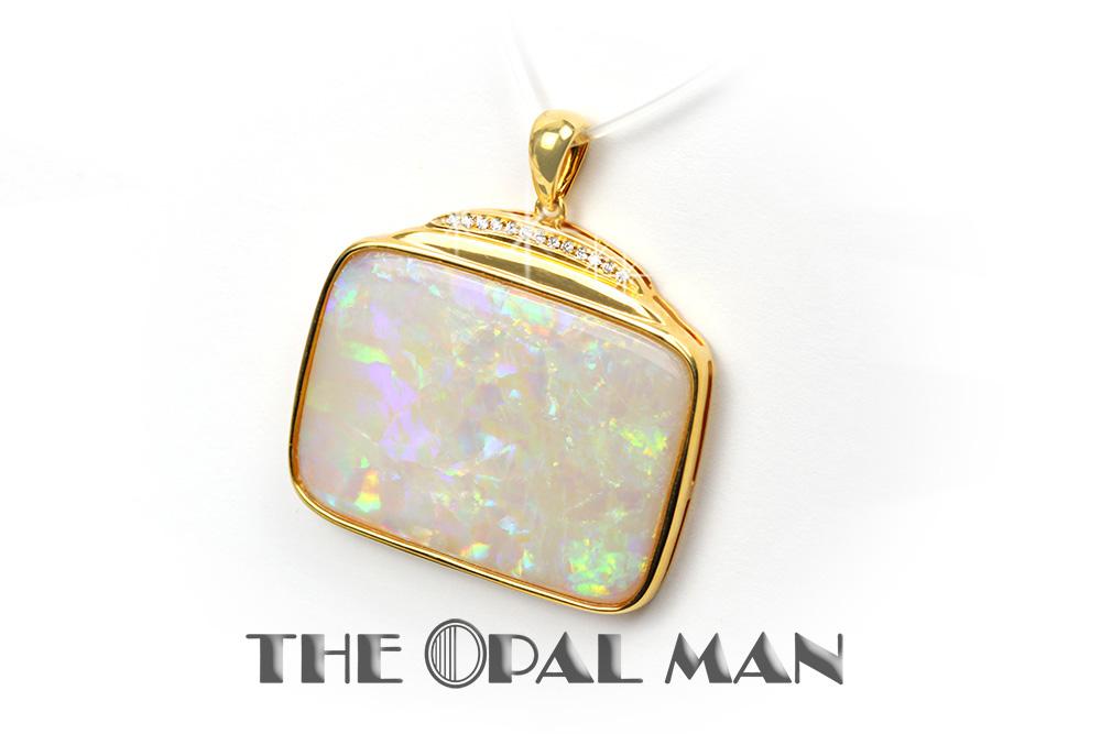 Beautiful australian white opal pendant in 14k gold setting beautiful australian white opal pendant in 14k gold setting diamonds aloadofball Gallery