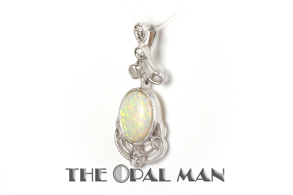 Australian crystal opal pendant in 14k white gold pinfire color opal pendant at the opal man aloadofball Images