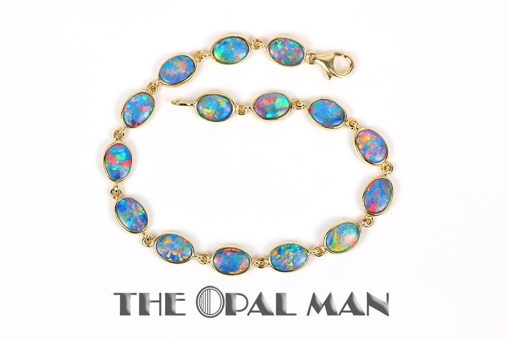 Opal Doublet Bracelet 14k Yellow Gold