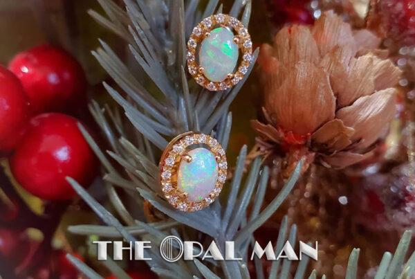 The Opal Man. Australian Crystal Opal and Diamond Halo Yellow Gold Earrings