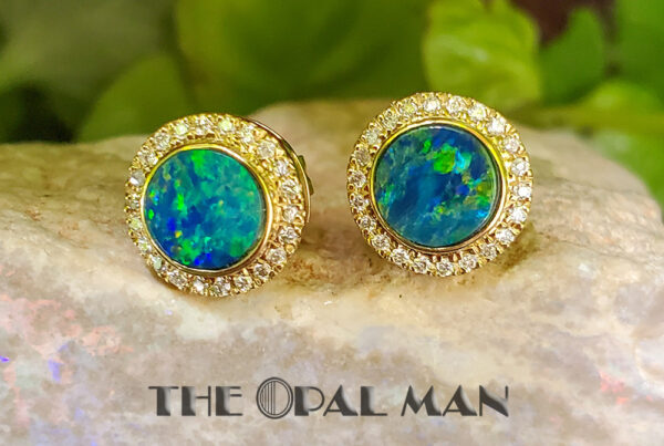 The Opal Man. blue/green Australian opal doublets with diamond halo 14k yellow gold